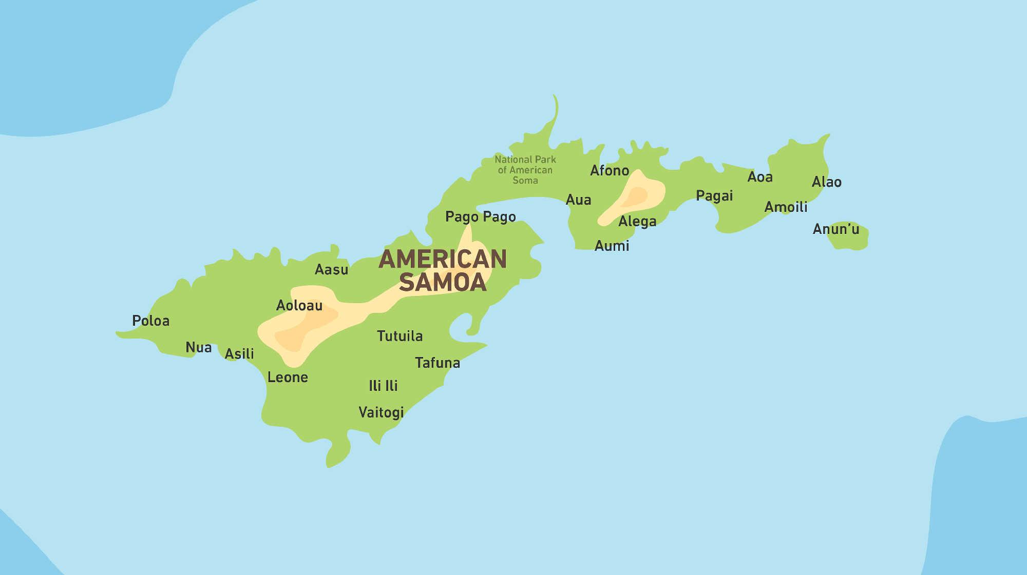 Map of Kacific 1 satellite coverage of American Samoa