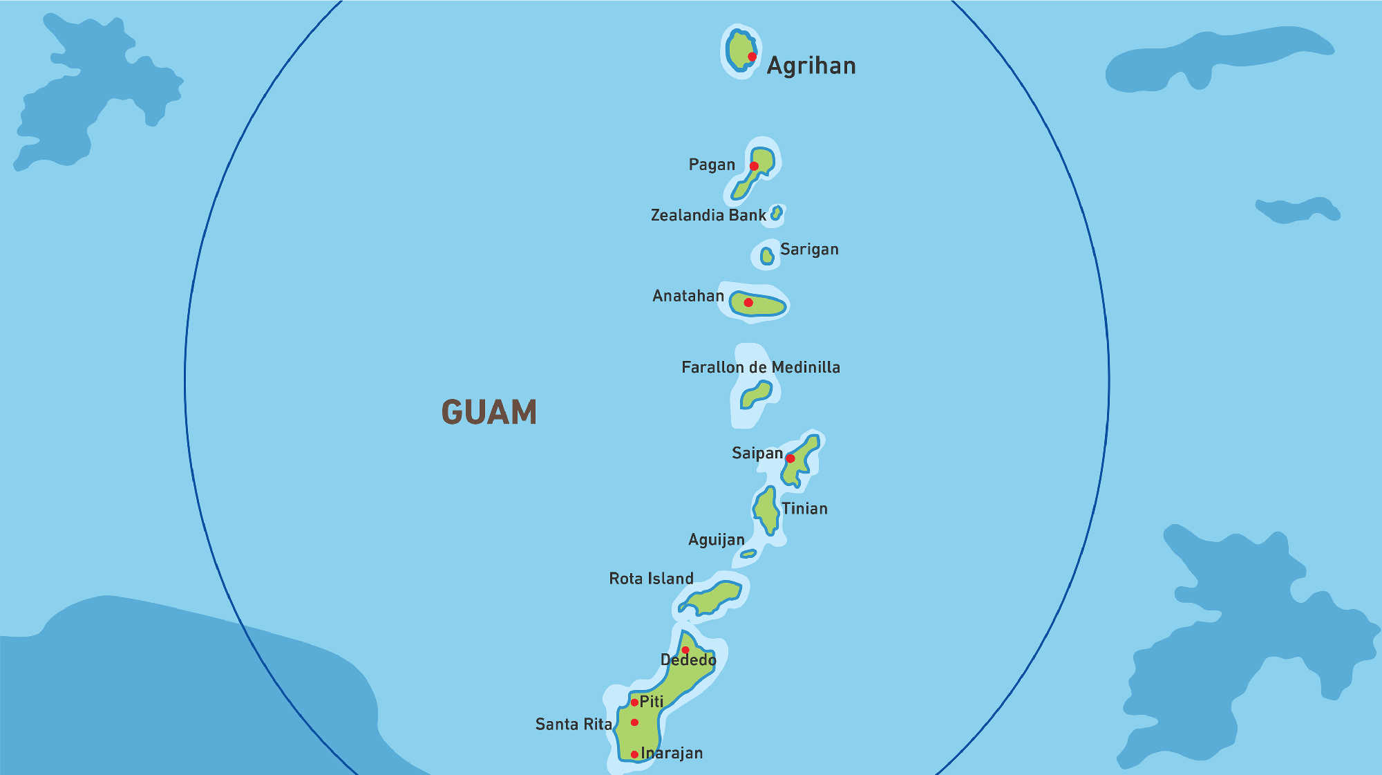 Map of Kacific 1 satellite coverage of Guam