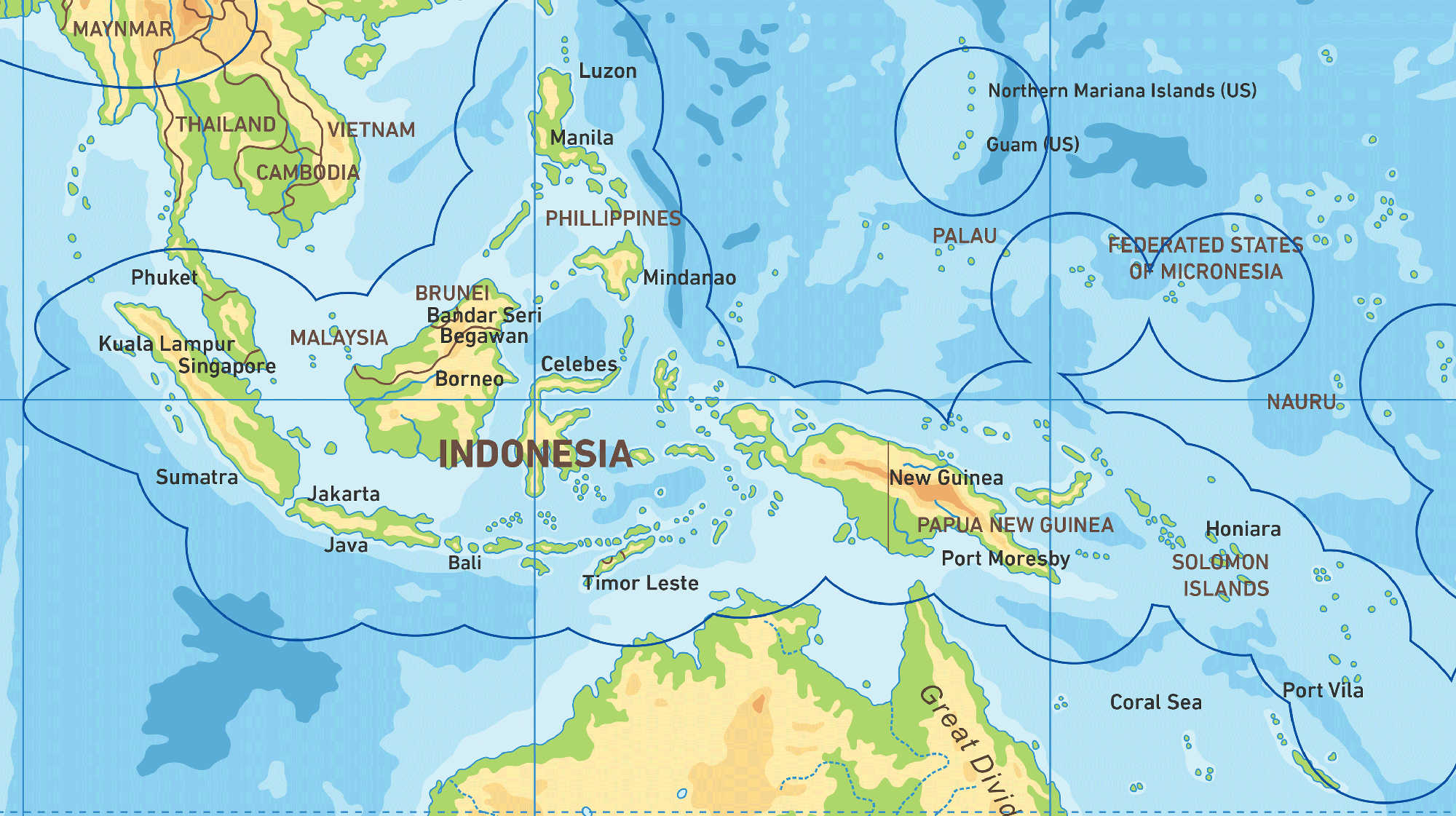 Map of Kacific 1 satellite coverage of Indonesia