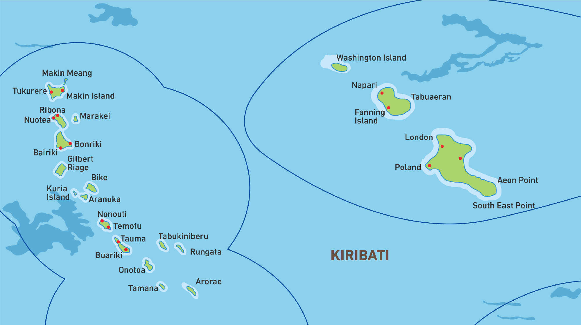 Map of Kacific 1 satellite coverage of Kiribati