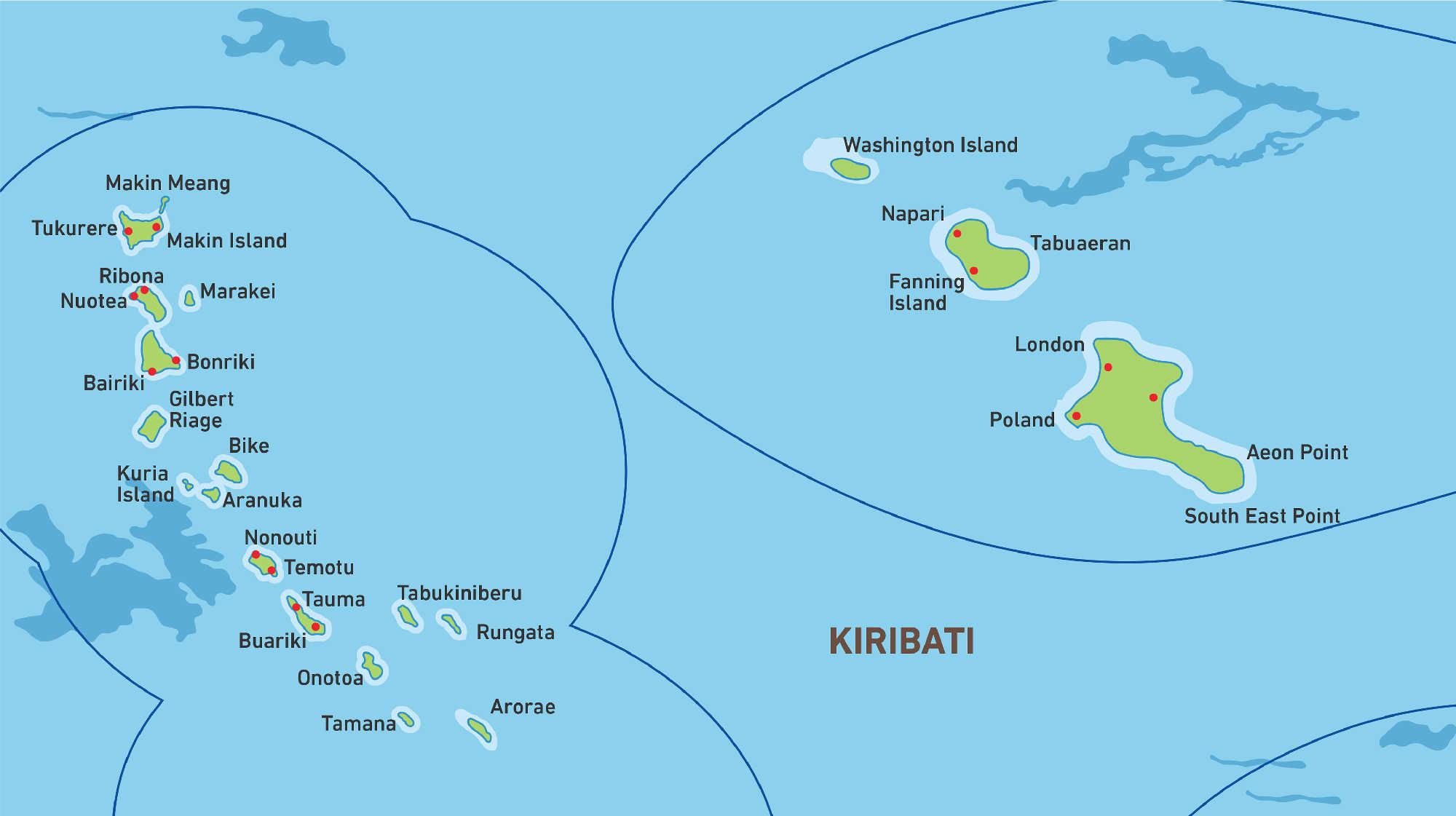 Map of Kacific 1 satellite coverage of Kiribati