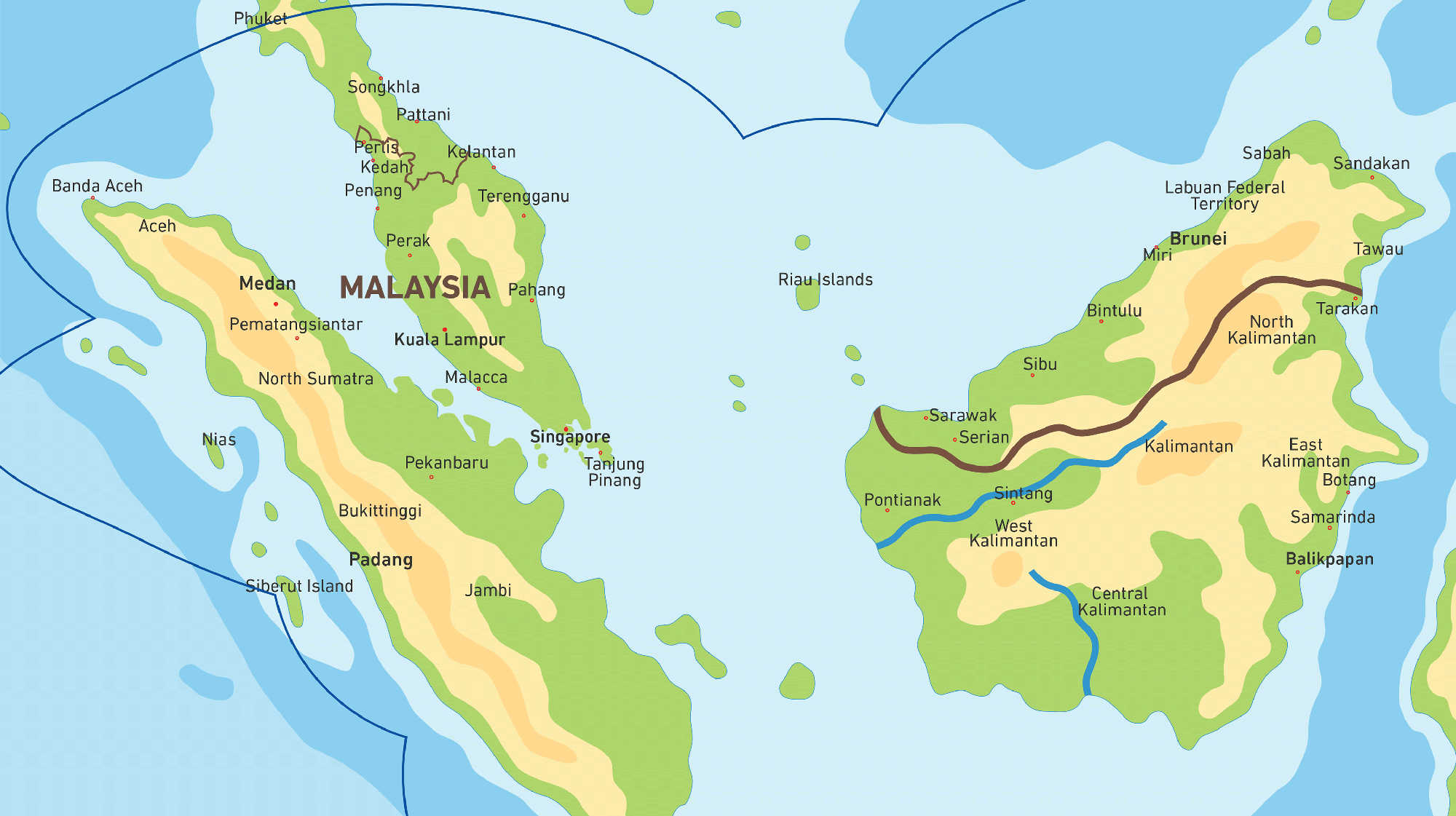 Map of Kacific 1 satellite coverage of Malaysia