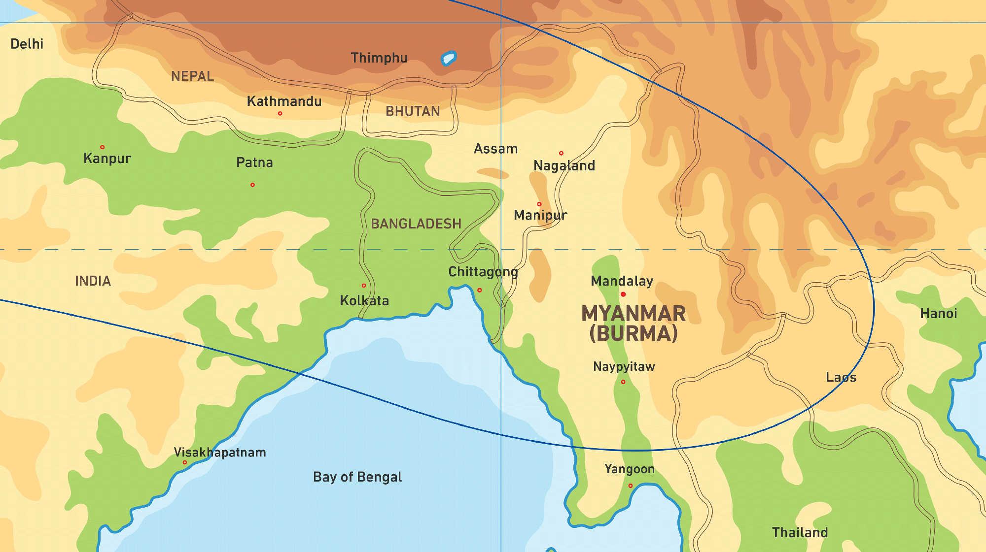 Map of Kacific 1 satellite coverage of Myanmar (Burma)