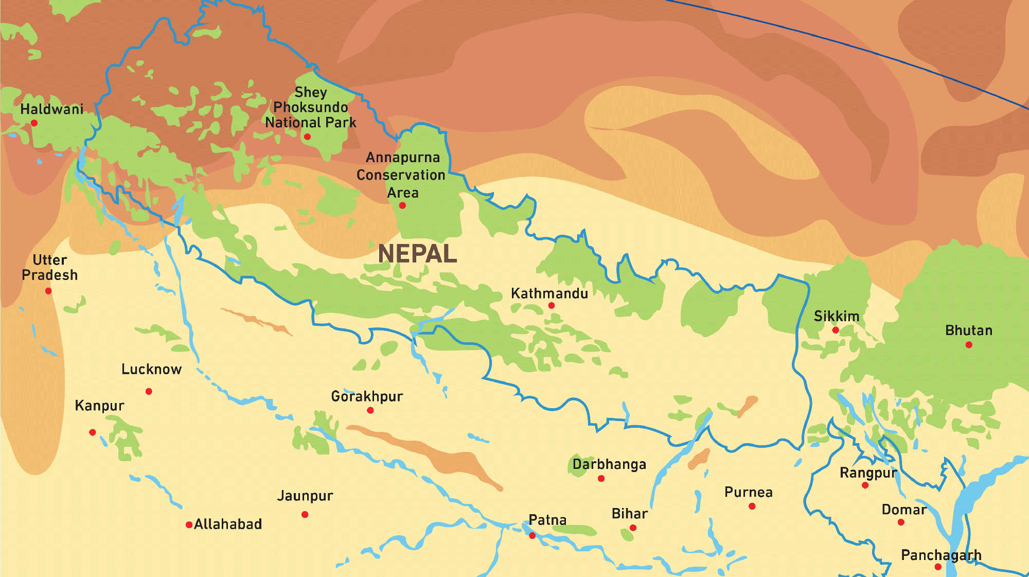 Map of Kacific 1 satellite coverage of Nepal