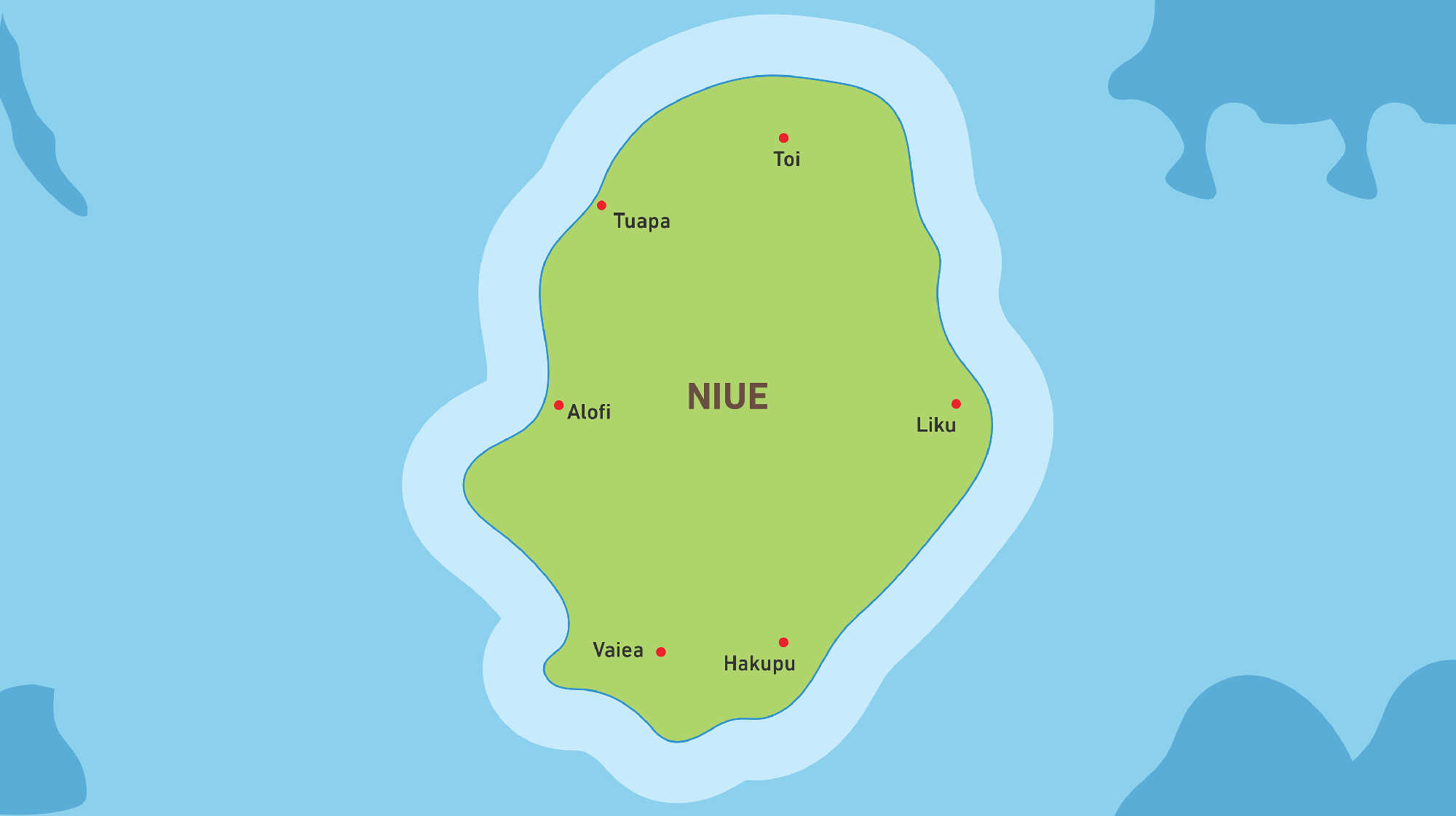 Map of Kacific 1 satellite coverage of Niue