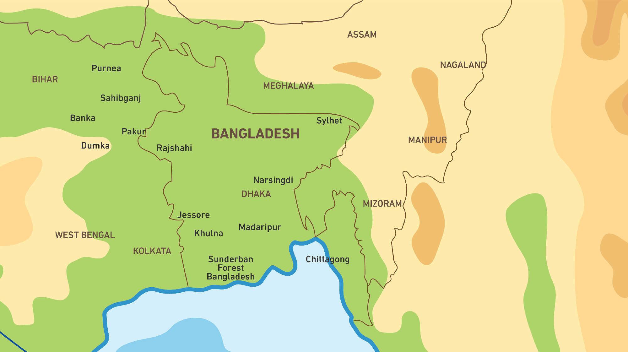 Map of Kacific 1 sattellite coverage of Bangladesh