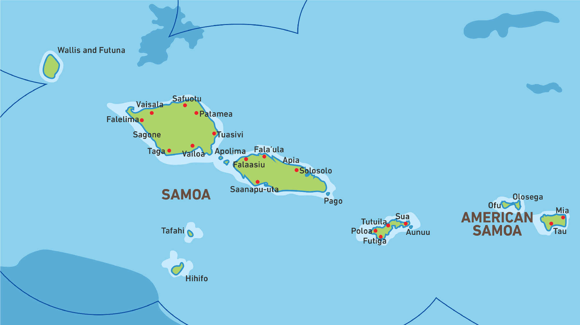 Map of Kacific 1 satellite coverage of Samoa