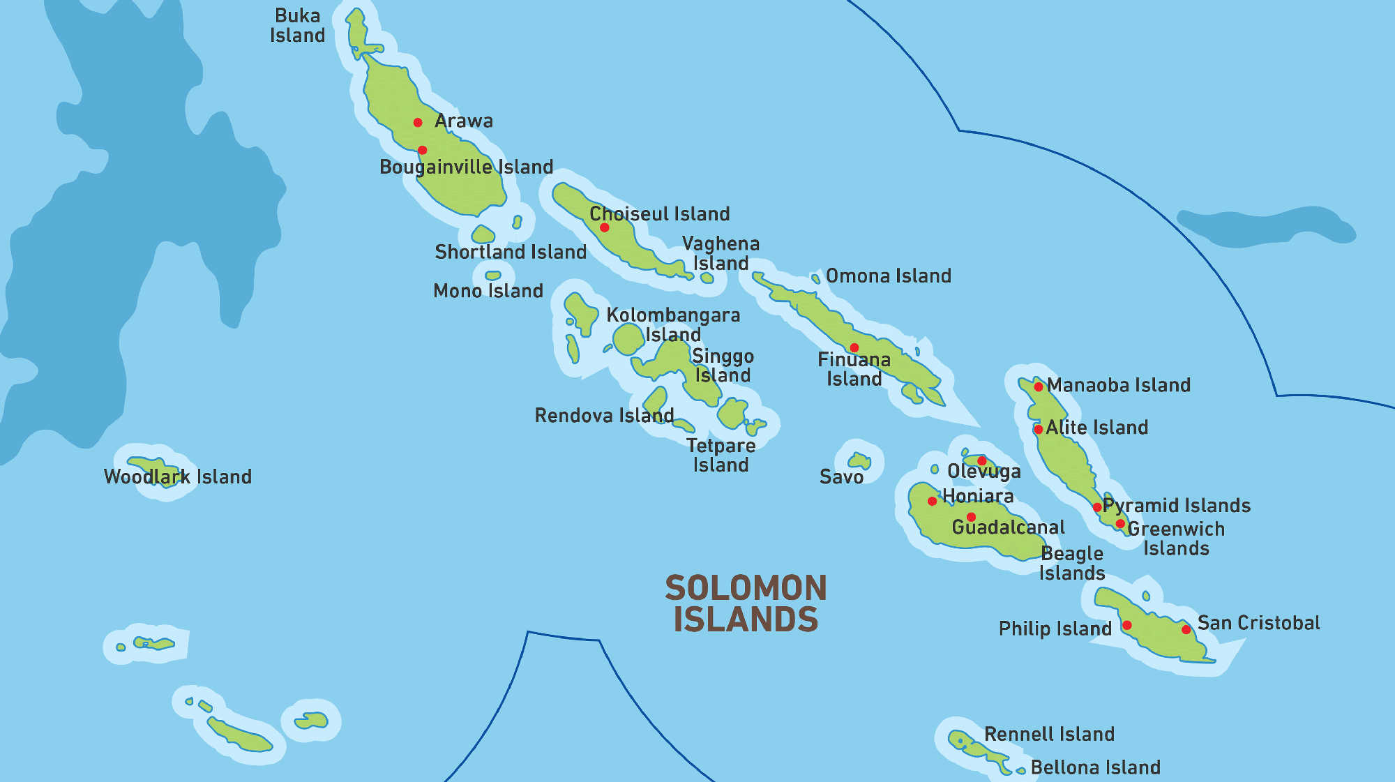 Map of Kacific 1 satellite coverage of Solomon Islands