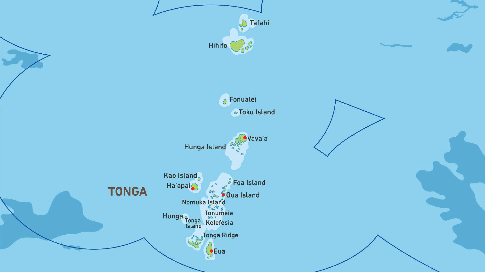 Map of Kacific 1 satellite coverage of Tonga