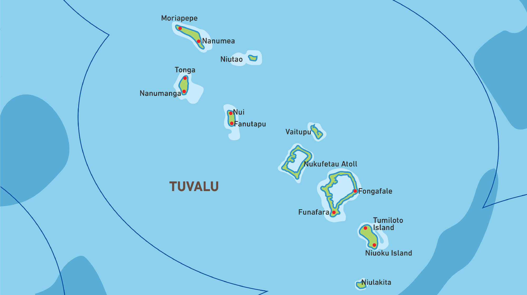 Map of Kacific 1 satellite coverage of Tuvalu
