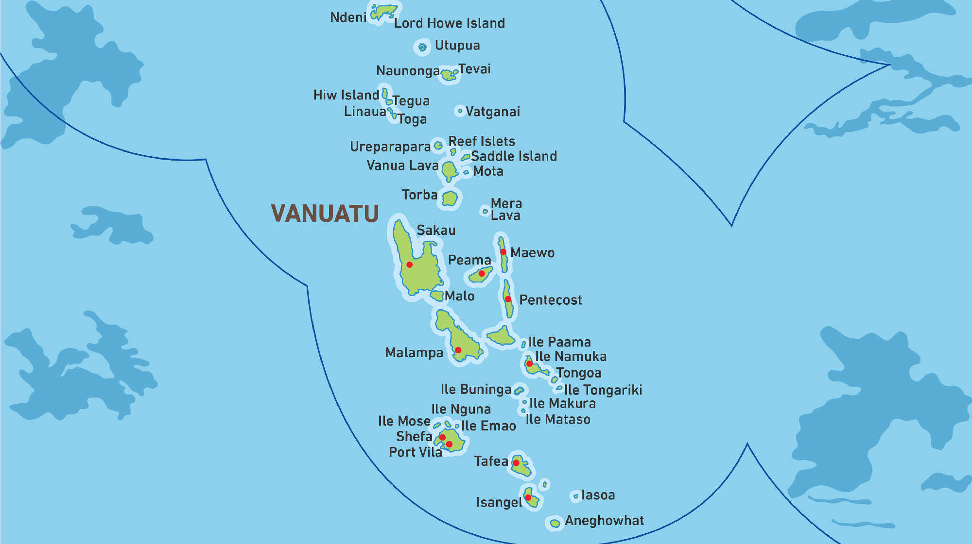 Map of Kacific 1 satellite coverage of Vanuatu