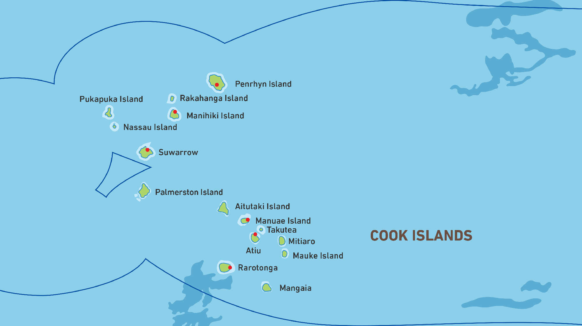 Map of Kacific 1 satellite coverage of Cook Islands