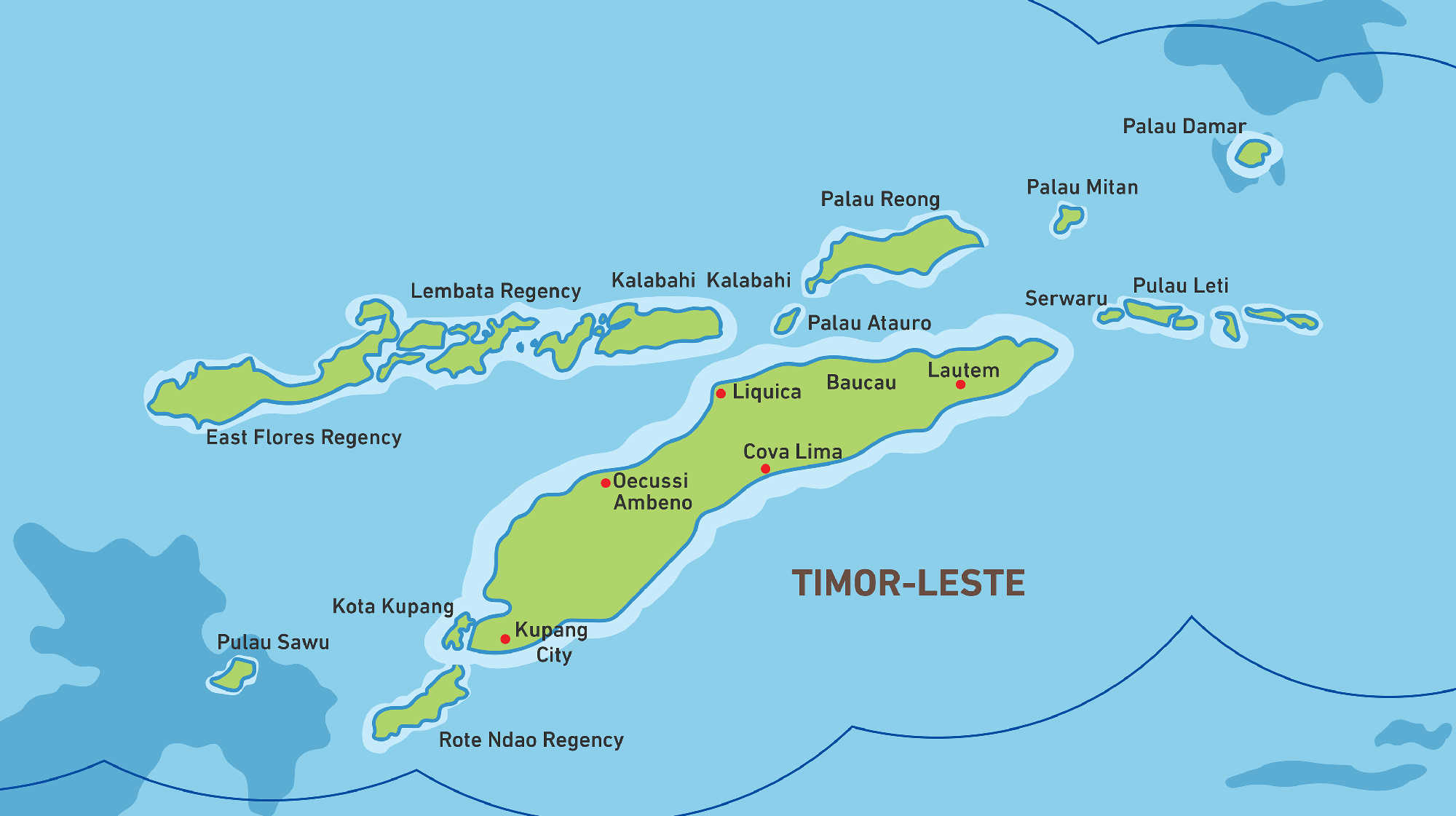 Map of Kacific 1 satellite coverage of timor-Leste