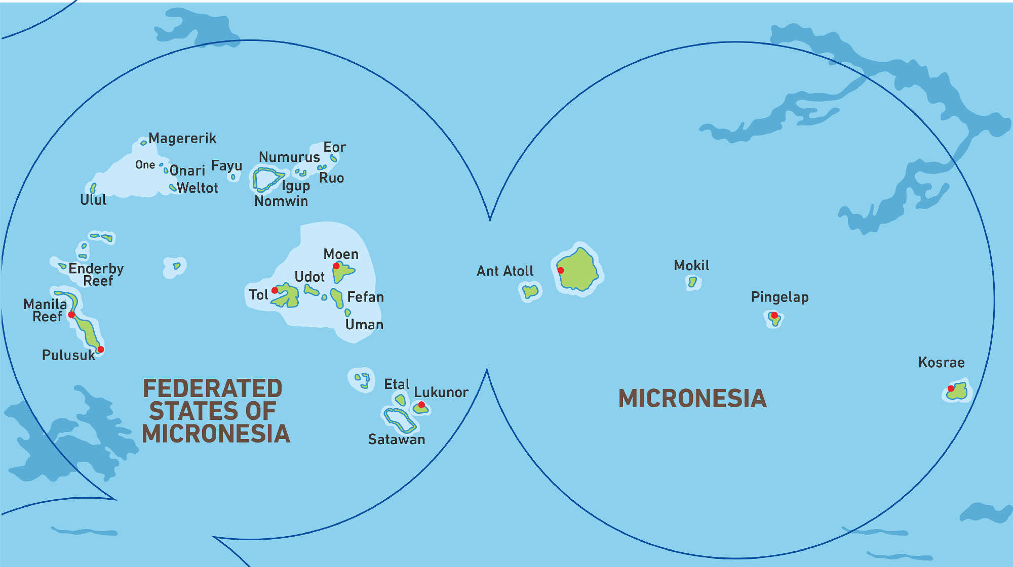 Map of Kacific 1 satellite coverage of Micronesia