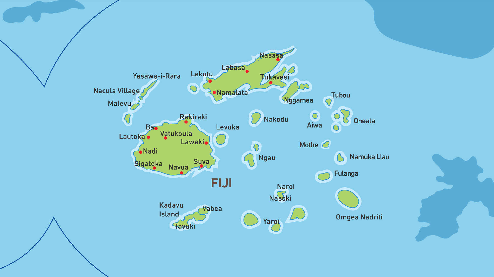 Map of Kacific 1 satellite coverage of Fiji