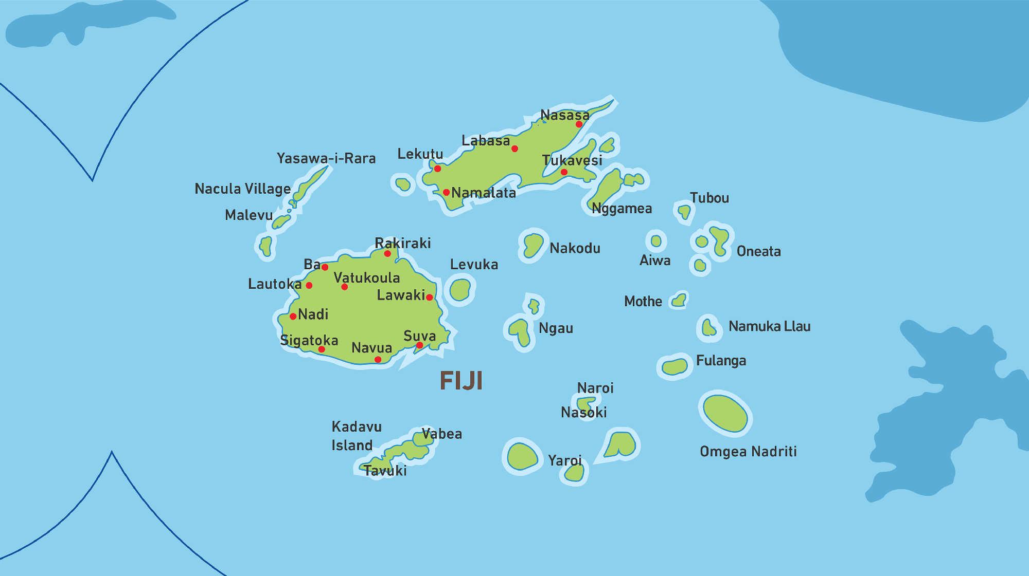 Map of Kacific 1 satellite coverage of Fiji