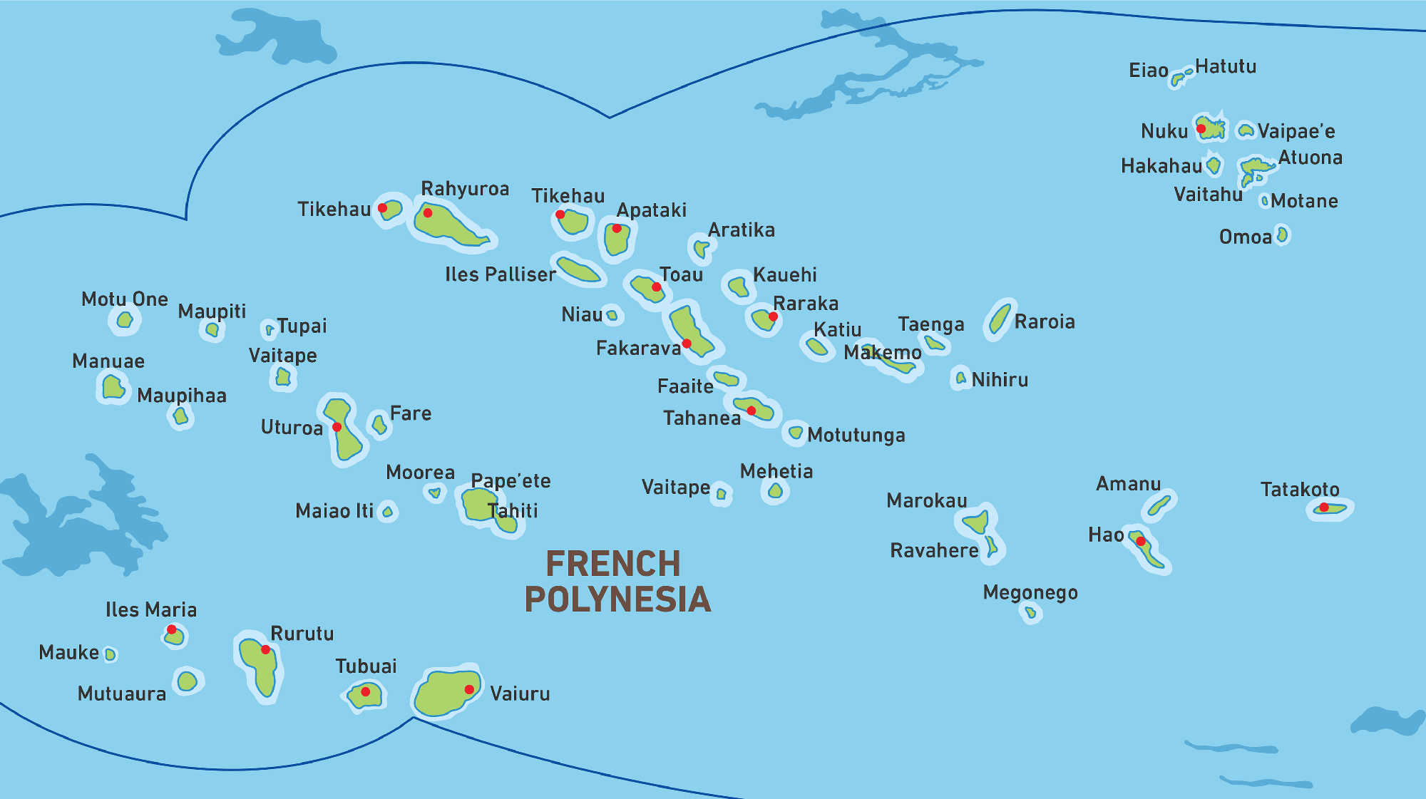 Map of Kacific 1 satellite coverage of French Polynesia