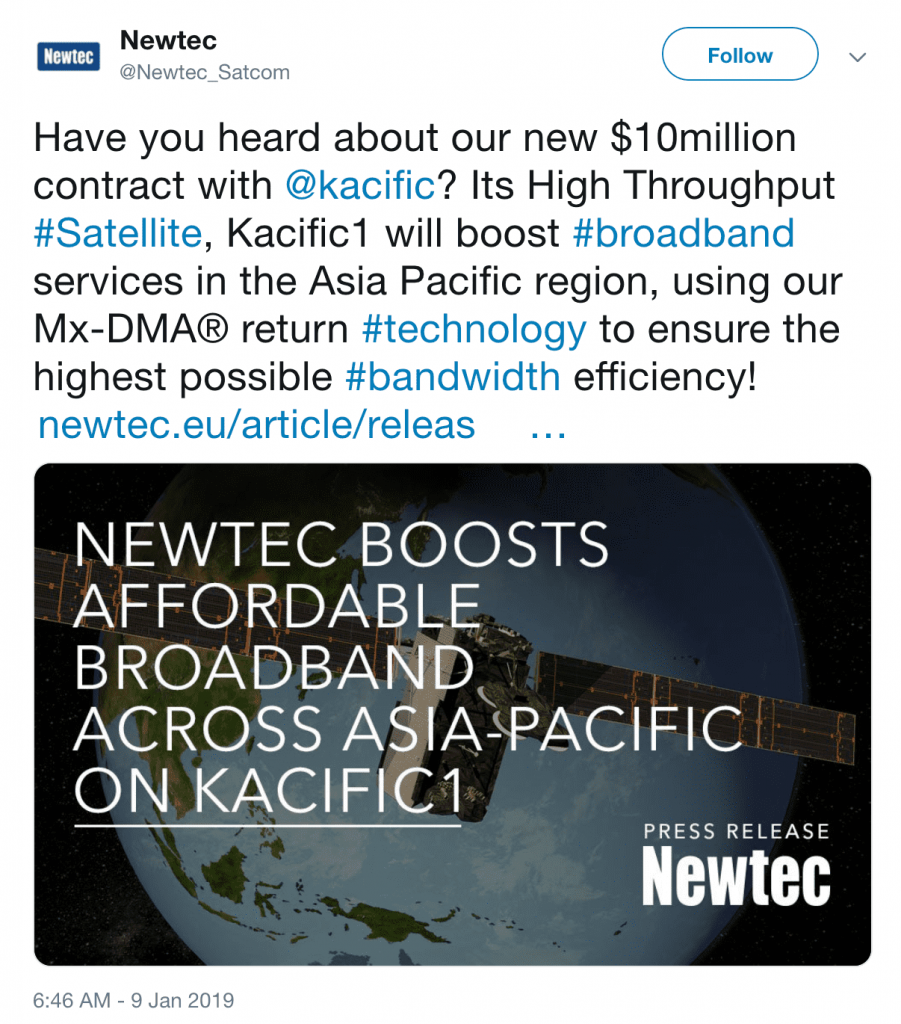Kacific Awards Newtec Contract To Boost Affordable Broadband