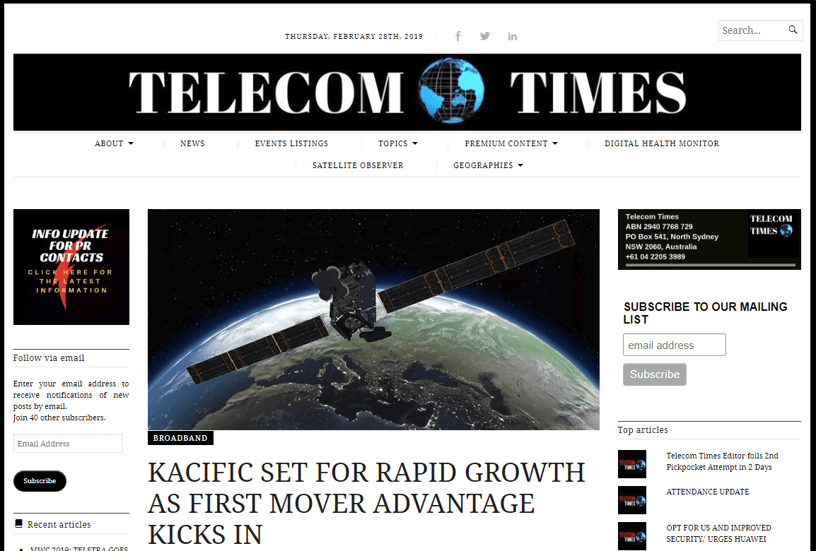 Kacific CEO Talks with Telecom Times