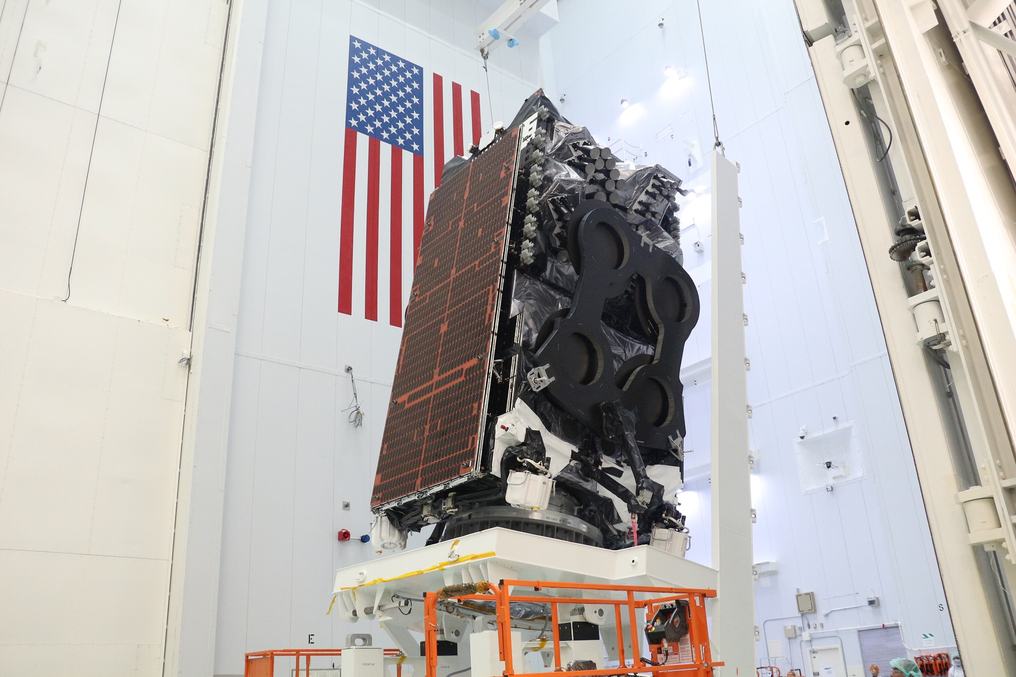 Kacific1 satellite (JCSAT-18/Kacific1) at SpaceX launch facilities, preparing for launch