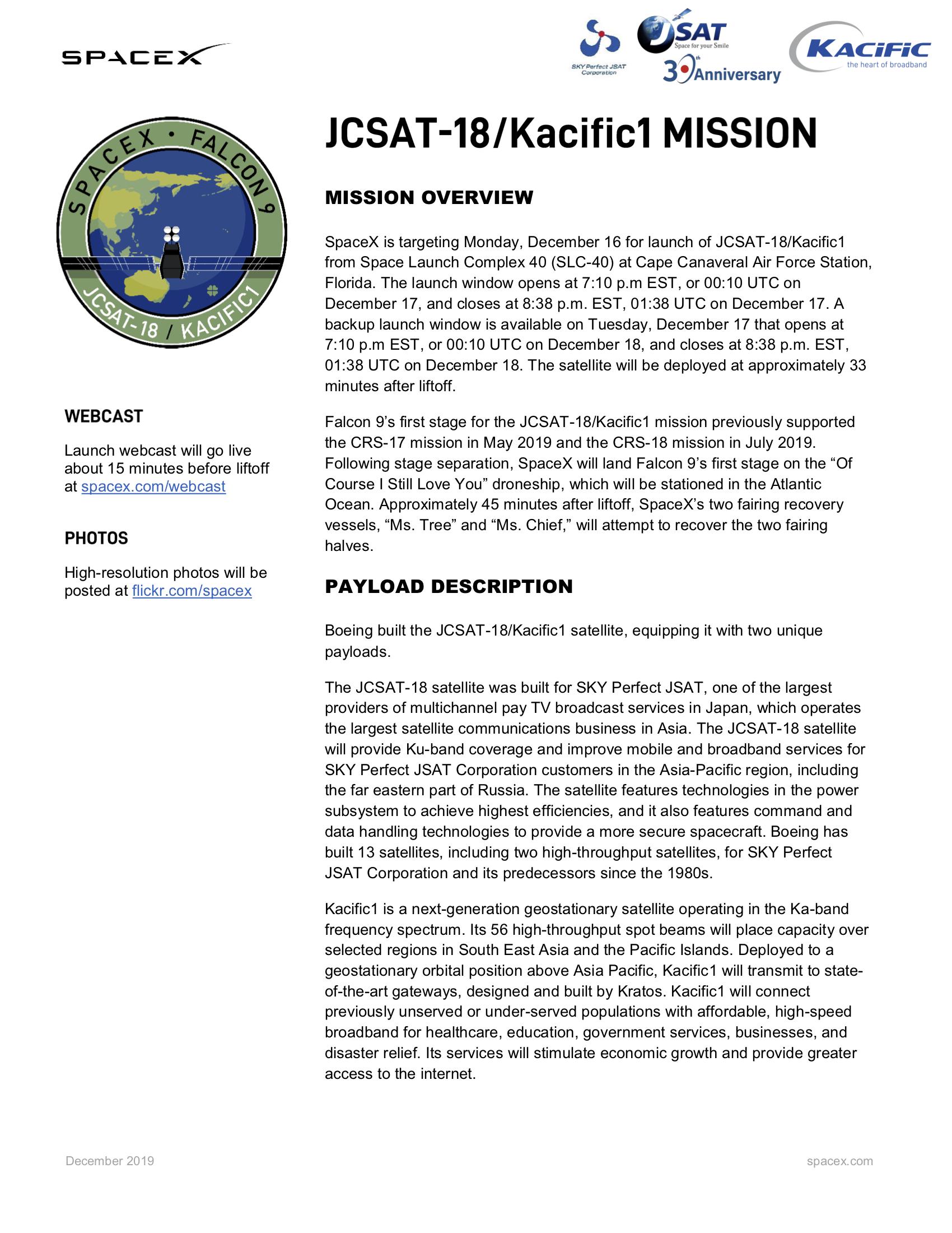Kacific1 Mission JCSAT-18