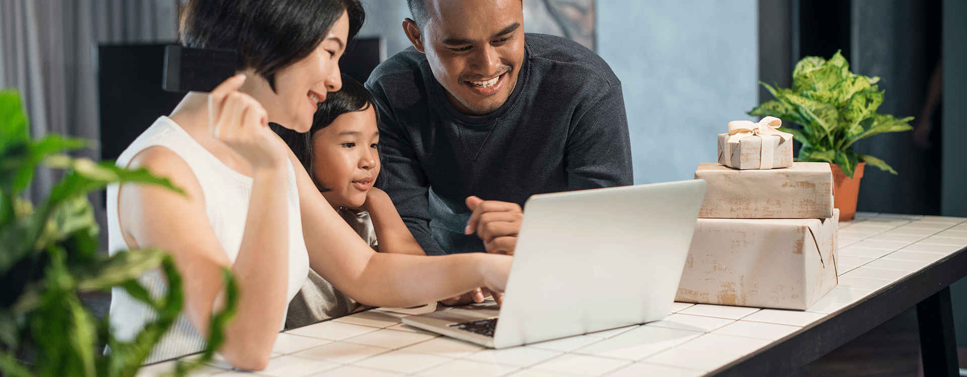 A young family enjoying fast Kacific internet